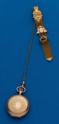 Timepieces:Pocket (post 1900), Swiss, 0 Size Hunters Case With Fob. ...