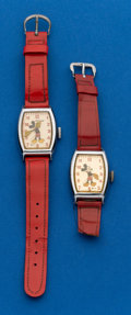 Timepieces:Wristwatch, Two - Early Mickey Mouse Wristwatches. ... (Total: 2 Items)