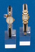 Timepieces:Wristwatch, Two - Ladies 14k Gold Wristwatches, Omega & Bulova. ... (Total: 2 Items)