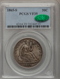 Seated Half Dollars: , 1865-S 50C VF35 PCGS. CAC. PCGS Population (5/46). NGC Census:(0/46). Mintage: 675,000. Numismedia Wsl. Price for problem ...