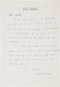 Autographs:Letters, 1952 Jackie Robinson Handwritten Signed Letter....
