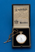 Timepieces:Pocket (post 1900), Hamilton, 14k Gold, 23 Jewel, 920 With Original Box. ...