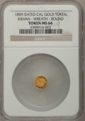 "California Gold Charms, ""1859"" California Gold, Indian, Wreath, Round MS66 NGC...."