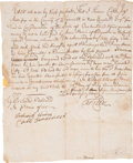 """Miscellaneous:Ephemera, Slave Bill Of Sale In Plymouth. One page, 7.5"""" x 9"""", Halifax, MA,July 25, 1737. Beautifully scripted record documenting the..."""