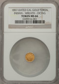 "California Gold Charms, ""1857"" California Gold Charm, Indian, Wreath, Octagonal MS66 NGC...."