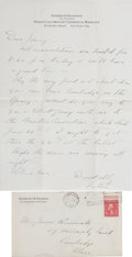 """Autographs:U.S. Presidents, Franklin D. Roosevelt Autograph Letter Signed """"Father."""" Onepage, 7.25"""" x 10.75"""", on Roosevelt's Fidelity an..."""