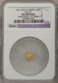 California Fractional Gold: , 1871 25C Liberty Octagonal 25 Cents, BG-767, R.3,--ImproperlyCleaned--NGC Details. AU. NGC Census: (0/45). PCGS Population...