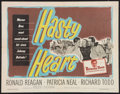 "Movie Posters:War, Hasty Heart (Warner Brothers, 1950). Half Sheet (22"" X 28""). War....."