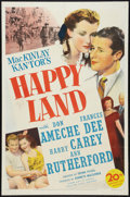 "Movie Posters:Drama, Happy Land (20th Century Fox, 1943). One Sheet (27"" X 41""). Drama.. ..."