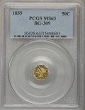 California Fractional Gold, 1855 50C Liberty Octagonal 50 Cents, BG-309, R.5, MS63 PCGS....
