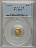 California Fractional Gold, 1880/70 50C Indian Round 50 Cents, BG-1067, Low R.4, MS64 PCGS....