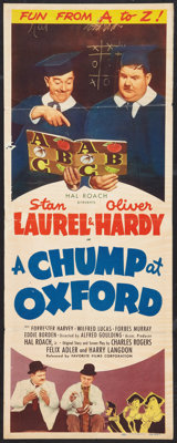 """A Chump at Oxford (Favorite Films, R-1946). Insert (14"""" X 36""""). Comedy"""