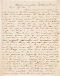 "Autographs:Military Figures, Dueling in the Texan Army: A Letter Reporting a Duel. Three andone-fourth pages, 7.75"" x 9.75"", Bloomington [Texas], Octobe..."