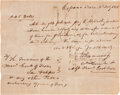 "Autographs:Military Figures, James Fannin Autograph Document Signed. One page, 7"" x 5.5"", Copano, Texas, February 3, 1836, addressed to ""The Treasurer ..."