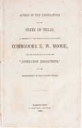 Books:Pamphlets & Tracts, [Commodore E.W. Moore] Action of the Legislature of the State of Texas,...