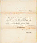 "Autographs:Military Figures, Albert Sidney Johnston Document Signed ""A. Sidney Johnston""as the Texas Republic's secretary of war. One page, 8"" x 9"",..."