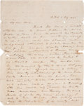Autographs:Statesmen, Texas Revolution: Autograph Letter Signed Addressed to Ira RandolphLewis, containing significant content on the final stage...