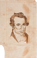 "Autographs:Statesmen, [Stephen Austin]. Drawing in Ink, 7.75"" x 12.5"". The drawing, by anunknown artist, features the bust of the ""Father of ..."
