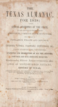 Books:First Editions, The Texas Almanac for 1858. Galveston: Richardson & Co.,1857. 8vo. 194 pp., plus 84 pages of ads at the rear. ...