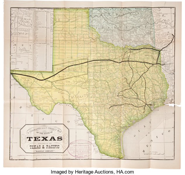 Map Of Texas Railroads.Railroads In Texas The Texas Pacific Railway The Shortest Line