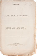 Books:Pamphlets & Tracts, [Sam Houston] Letter of General Sam Houston to General Santa Anna....