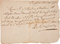 "Autographs:Statesmen, [Benjamin Lincoln] Receipt For a Slave Purchased at Auction Signed by Bela Lincoln. One page, 8.5"" x 4.75"", Hingham, Massach..."