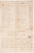"Autographs:Statesmen, Receipt For The Hiring Out of Slaves. One page, approximately 12.5""x 8"", n.p., January 4, 1836. Unusual document listing th..."