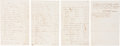 "Miscellaneous:Ephemera, Estate Probate Listing with Inventory of Slaves. Four pages, pennedon recto and verso, 5.25"" x 8.25"", n.p., November 26, 18..."