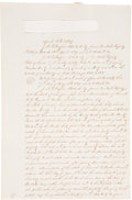 """Miscellaneous:Ephemera, Houston Estate Listing with Slave Inventory. Two pages, recto only,12"""" x 8"""", May 7, 1849. Legal assessment """"in the matter..."""