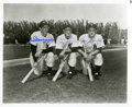 Baseball Collectibles:Photos, Joe DiMaggio, Hank Bauer and Gene Woodling Multi Signed Photograph....