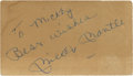 "Baseball Collectibles:Others, Mickey Mantle ""To Mickey"" Signed Business Card...."
