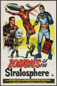 "Zombies of the Stratosphere (Republic, 1952). One Sheet (27"" X 41"") Flat Folded. Serial"