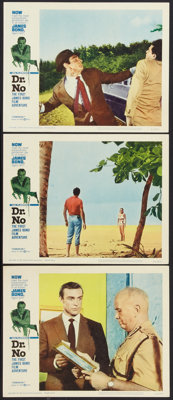 """Dr. No (United Artists, 1962). Lobby Cards (3) (11"""" X 14""""). James Bond. ... (Total: 3 Items)"""