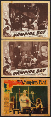 """The Vampire Bat (Majestic, 1933, & Capital, R-Late 1930s). Lobby Cards (3) (11"""" X 14""""). Horror. ... (Total..."""