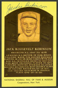 Baseball Collectibles:Others, Jackie Robinson Signed Hall of Fame Plaque Postcard....
