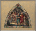 Antiques:Posters & Prints, [Painting]. Study for Stained Glass Memorial Window, ca. 1920.Watercolor on board, window design...