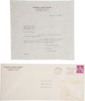 Baseball Collectibles:Others, 1960 Casey Stengel Signed Letter, With Original Envelope....