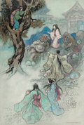 Mainstream Illustration, WARWICK GOBLE (British, 1862-1943). The Sea King and the MagicJewels, Green Willow and Other Japanese Fairy Tales book il...
