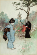 Mainstream Illustration, WARWICK GOBLE (British, 1862-1943). The Nurse, Green Willow andOther Japanese Fairy Tales book illustration, 1910. Wate...