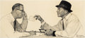 Mainstream Illustration, NORMAN ROCKWELL (American, 1894-1978). Two Men Conversing,c. 1950s. Graphite and pencil on paper. 9 x 20 in.. Signed lo...