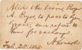 """Autographs:U.S. Presidents, Abraham Lincoln Autograph Pass Signed """"A. Lincoln"""" aspresident. One page, 3.25"""" x 2"""", [Washington, D.C.], February 25,..."""