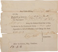 "Military & Patriotic:Revolutionary War, Revolutionary War: Partially Printed Pay Voucher. One page, 7.5"" x6.5"", n.p., December 27, 1782. Pay voucher for Capt. Will..."