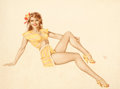 Pin-up and Glamour Art, ALBERTO VARGAS (American, 1896-1982). Pin-Up in Yellow, c.1940s. Watercolor on paper. 21 x 28 in.. Signed center-right...