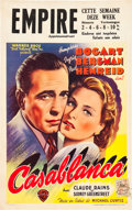 "Movie Posters:Drama, Casablanca (Warner Brothers, 1940s). First Post-War Release Belgian(12"" X 18"").. ..."