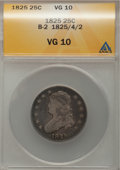 Bust Quarters, 1825/4/2 25C VG10 ANACS. B-2. NGC Census: (1/110). PCGS Population (10/227). Mintage: 144,000. Numismedia Wsl. Price for p...