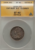 Bust Quarters: , 1838 25C --Cleaned--ANACS. XF40 Details. B-1. NGC Census: (13/144).PCGS Population (30/129). Mintage: 366,000. Numismedia ...