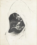 Works on Paper, ARTIST UNKNOWN. Mother and Child. Print. 16in. x 12-3/4in.. Inscribed in print at lower left Tyus?. ...