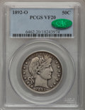 Barber Half Dollars: , 1892-O 50C VF20 PCGS. CAC. PCGS Population (7/238). NGC Census:(0/200). Mintage: 390,000. Numismedia Wsl. Price for proble...
