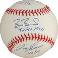 Baseball Collectibles:Balls, Barry Bonds, Jose Canseco and Alex Rodriguez Multi SignedBaseball....