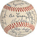 Baseball Collectibles:Balls, 1957 Cleveland Indians Team Signed Baseball - With Tris Speaker!...